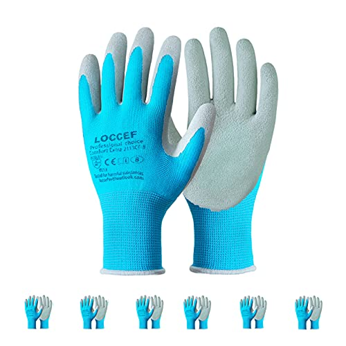 LOCCEF Gardening Gloves,6 Pairs Breathable Rubber Coated Garden Gloves,Construction,Home Improvement...