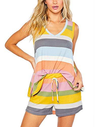 Colisha Conjunto de pijama de rayas arcoíris para mujer, cuello redondo, pantalones cortos con cordón con bolsillos, conjuntos PIS