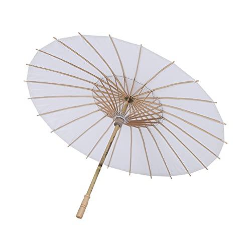 HERCHR Papier Sonnenschirm Regenschirm, weißer Regenschirm für Kinder DIY Malerei Handwerk, Mini Regenschirme für Dekorationen(42cm)