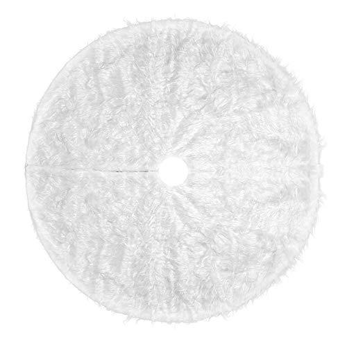 Tappeto Bianco Albero di Natale, Gonna Albero di Natale, Copri Base Albero Natale per Albero di Natale Decorazione Natalizia, 90 CM