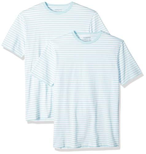 Amazon Essentials - Pack de 2 camisetas de manga corta con cuello redondo y diseño a rayas para hombre, Aguamarina/blanco, US L (EU L)