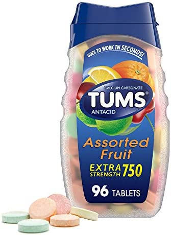 TUMS Extra Strength Antacid Chewable Tablets for Heartburn Relief, Assorted Fruit, 96 Count (Pack of 1)