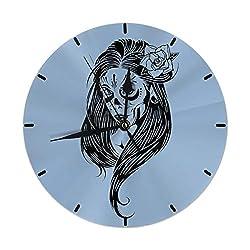 XIVEIER 10 Inch Easy to Read Skull La Calavera Catrina Creative Mark Wall Clock for Home