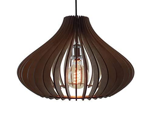 EVEVO L0024 - Lámpara de Techo Colgante de Madera, diseño Moderno, 109 Colores de Barniz Natural