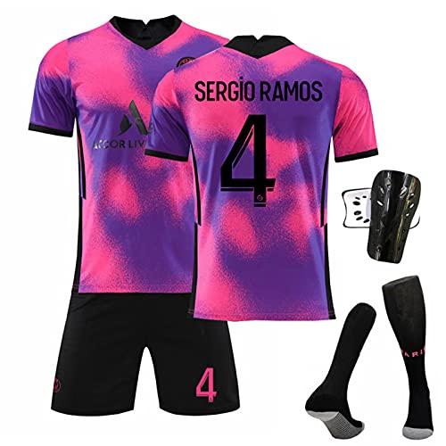 Traje De Jersey para Hombre 2021 N ° 7 Mbappé N ° 10 Camiseta De Neymar Paris Camiseta De Fútbol Rosa Púrpura Camiseta De Fútbol para Adultos Y Niños Entrenamiento Deportivo,4,XL