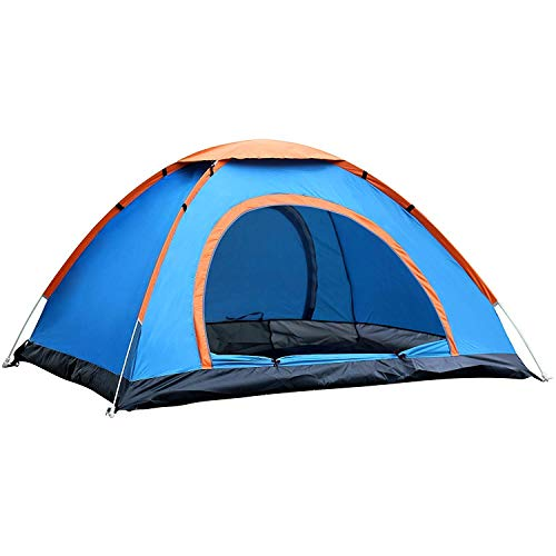 POXJEX Tent 2 Person Picnic Polyester Camping Portable Waterproof House Tent 2 Person for Hiking/Travelling Tent - Multicolour