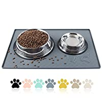 """Size: 23.6x15.7"""" fit for most of medium or small pets (dogs & cats) Raised Outer Border Height: 0.4""""(1cm) to Stop Cat and Pet Food Spills and Water Bowl Messes on Floor Made of Silicone, 100% free from nasty chemicals like BPA, PVC and Phthalate. It'..."""
