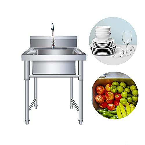Kitchen Sink. Lavabo comercial independiente con soporte 201 de acero inoxidable de pie comedor fregadero jardín restaurante comedor lavandería