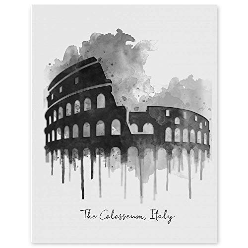 The Roman Colosseum - Rome Italy Watercolor Wall Print - 11 x 14 Unframed Print - Designed for World Travelers - Travel Agent Office Wall Decor - Landmark