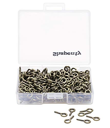 6 x 13mm HUIHUIBAO 100 Pieces Small Screw Eyes Pin Hook for Jewelry for Jewelry Making Findings DIY Crafts Antique Bronze