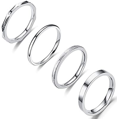 Jewdreamer 4Pcs 2-3mm Stainless Steel Women's Stackable Eternity Plain Band Knuckle Rings Engagement Wedding Ring Set 10