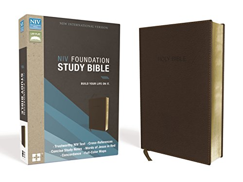 Compare Textbook Prices for NIV, Foundation Study Bible, Leathersoft, Brown, Red Letter Edition Box Lea Edition ISBN 9780310441878 by Zondervan