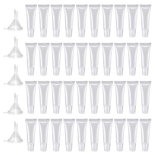 50 PCS Tubos de brillo labial de plástico de 10 ml, tubos cosméticos vacíos transparentes para envases cosméticos de bricolaje