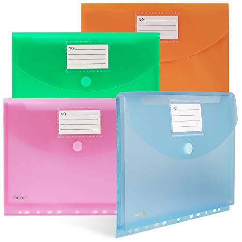 Dokumententasche A4-20 Pack dreidimensionale A4 Dokumentenmappe Sammelmappen für Dokumente Organisieren mit Binderlöcher/Klettverschluss und Etikettentasche wasserdicht jede bis zu 300 Papiere (20)