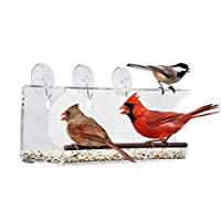 ウィンドウバードフィーダー, 耐候性, 耐雪性およびリス耐性, 雨水を排出します, 家から歌う鳥を見る-透明