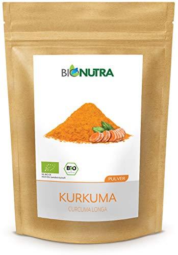 BioNutra® Kurkuma poeder biologisch 250 g, natuurlijke bron van curcumine, fijngemalen kurkuma, gecontroleerde biologische teelt