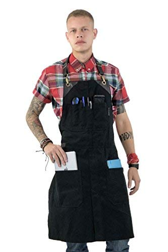 Under NY Sky No-Tie Black Apron with Full Grain Leather Straps – Durable Twill , Split-Leg, Adjustable for Men and Women – Pro Chef, Pastry, Tattoo Artist, Barista, Bartender, Stylist, Server Aprons