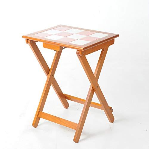 FEI Mesa de Comedor Plegable de Madera Maciza Juego de Mesa pequena Mesa de Comedor de azulejo de Escritorio