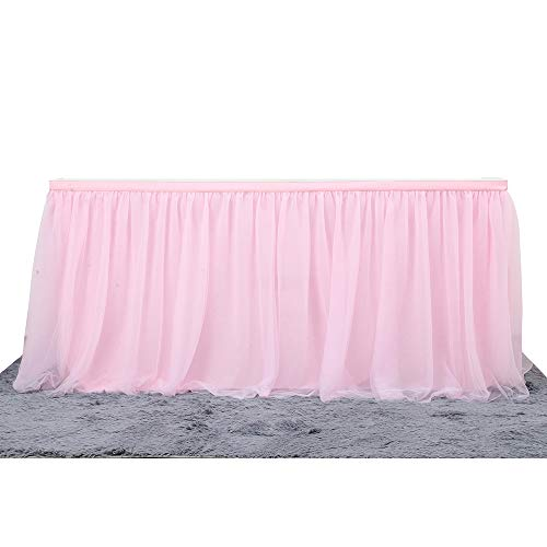 Unique WElinks Falda de Mesa romántica de Tul con Falda de Tul para decoración de Mesa, Falda de Falda para Fiesta de cumpleaños, Baby Shower, decoración de Boda, 183 x 77 cm