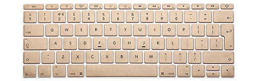 HRH EU/UK Keyboard Cover Silicone Skin for New MacBook Pro 13 Inch A1708 (No TouchBar) Release 2016 and MacBook 12 Inch A1534 with Retina Display (2015 Version) European/ISO Keyboard-Metallic Gold