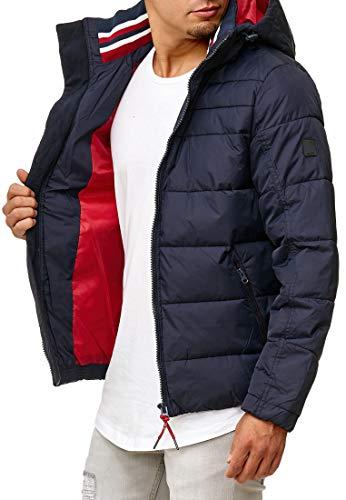 Indicode Herren Philpot Steppjacke in Daunenjacken-Optik mit Abnehmbarer Kapuze und Stehkragen| gefütterte sportliche Winterjacke warme robuste Übergangsjacke Jacke für Männer Navy XXL