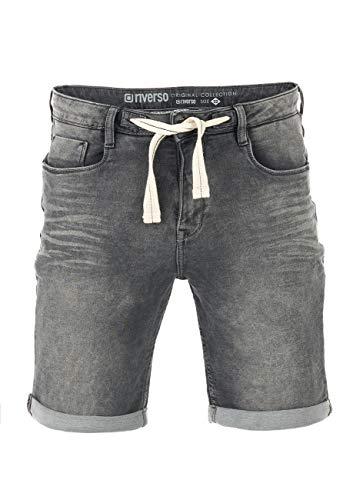 riverso Herren Jeans Shorts RIVPaul Kurze Hose Sommer Bermuda Stretch Denim Short Sweathose Baumwolle Grau Blau Dunkelblau w30 - w42, Größe:W 36, Farbe:Grey Denim (G37)