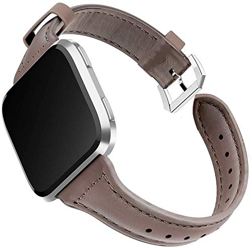 Gaishi Band Compatible with Fitbit Versa 2/Versa Lite/Versa SE Smartwatch Fitness Tracker, Slim Genuine Leather Strap Wristband Replacement for Fit bit Versa, Khaki Chocolate+Silver Buckle