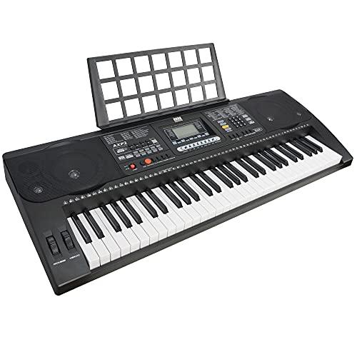 Axus AXP2 Tastiera Elettronica Portatile a 61 Tasti Box Key e Sensibili al Tatto, Livello Beginner, con Alimentazione Elettrica e Leggio