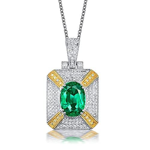 Amody Ciondolo Oro Bianco 18Kt, Ciondolo Donna Smeraldo Quadrato Forma con Diamante e Smeraldo 0.86ct