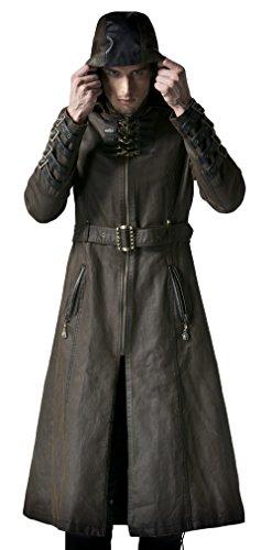 Punk Rave - Cappotto con cinghie e cintura Steampunk Y-550, colore: Marrone marrone XL