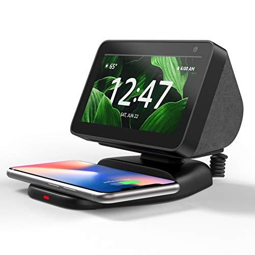 Echo Show 5 Ständer mit Wireless Charger, Verstellbare Magnetischer Echo Show 5 Zubehör, Handy Qi ladestation