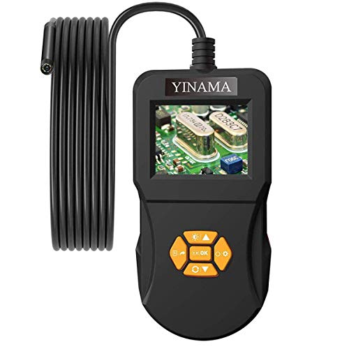Industrial Endoscope,YINAMA Digital Inspection Camera Unique 2.4 inch HD IPS Screen 8 LEDs Borescope IP67 Waterproof Snake Tube with 32G SD Card (16.4FT)