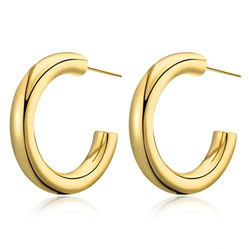 Pendientes Hipoalergénicos para Mujer, Pendientes De Aro De Oro Grueso, Aros Ligeros En Forma De C para Mujer