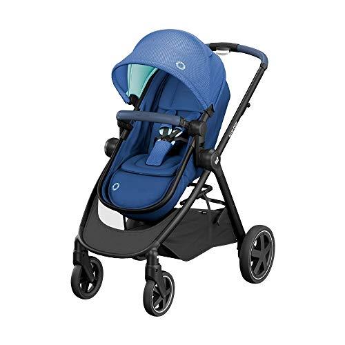 Maxi-Cosi Zelia Carrito bebé 2 en 1, hamaca se transforma en capazo, cochecito reclinable en posición acostada, fácil sistema de plegado, color essential blue