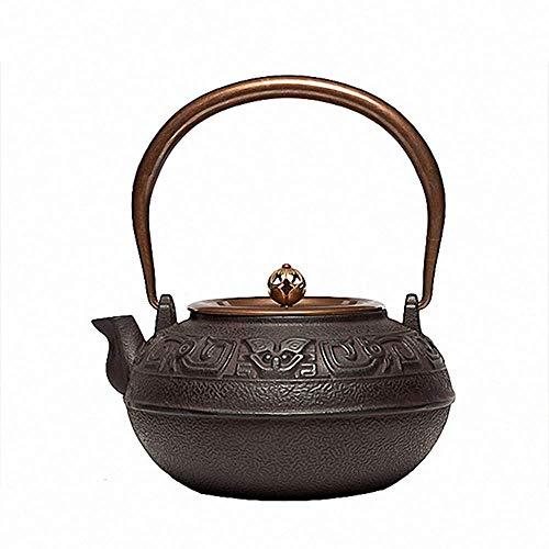 Tetera Hierro Dahan Olla 1.4l Tetera té Haciendo Tetera de Hierro Tetera hervida Agua Conjunto de té pote Fiesta y Amantes del té (Color : Pig Iron, Size : 21x9.5x10cm)