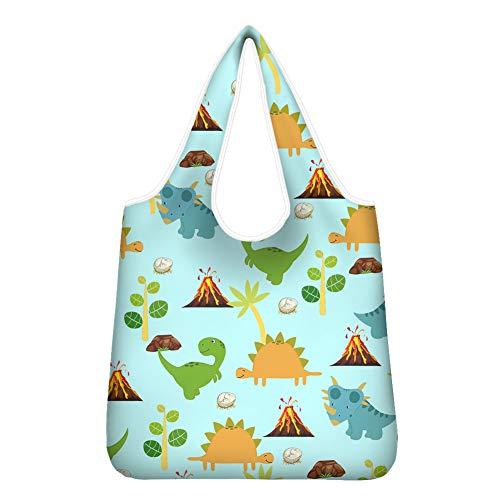 Woisttop Einkaufstasche mit Cartoon-Dinosaurier-Motiv, wiederverwendbar, Schultertasche, faltbar, Handtaschen für Geburtstag, Party, Strand, Camping