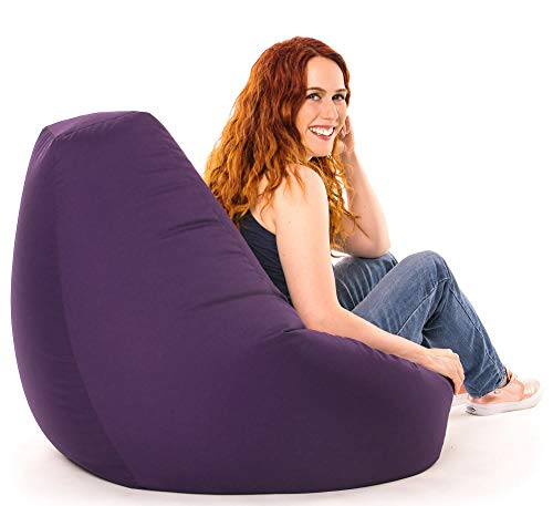Beautiful Beanbags Adult Highback Beanbag Large Bean Bag Chair for Indoor and Outdoor Use - Water Resistant- Perfect Lounge or Gaming Chair - Home or Garden Bean Bag - Manufactured in UK (Purple)
