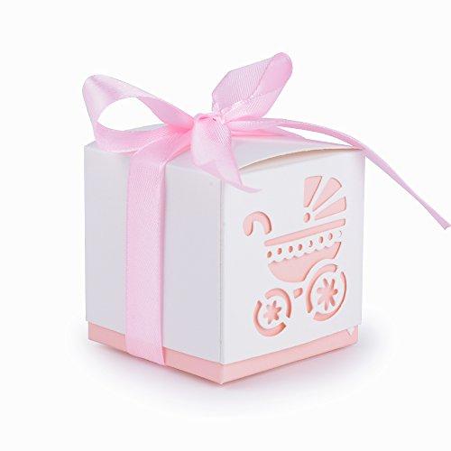 50Pcs Cajas Papel Bautizo Regalo Boda Bombones Detalles para Invitados Fiesta Comunion Cumpleaños con Cintas Forma Cochecito Rosa