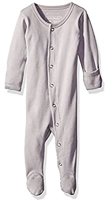 L'ovedbaby Organic Cotton Baby Footed Sleeper, Light Gray, 0-3 Months