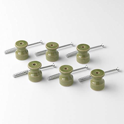 Klartext Isolatoren BELLE ÉPOQUE im Vintage-Stil mit Textilgeflecht aus hochwertigem handwerklichem Porzellan in grün glänzend Ø20mm, 6 Stück