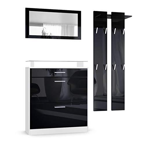Recibidor de entrada moderno con zapatero, espejo, cajón, repisas y percheros.