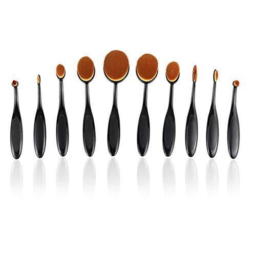 10PCS Make-up-Pinsel-Set Weich Oval Zahnbürste Shaped Foundation Contour Pinsel Powder Blush Conceler Eyeliner Blending Bürsten-kosmetische Bürsten-Werkzeug-Set