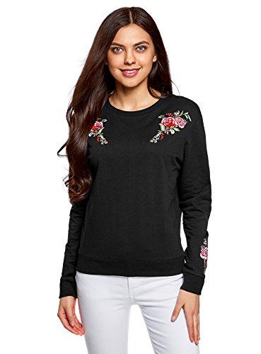 oodji Ultra Damen Baumwoll-Sweatshirt mit Stickerei, Schwarz, DE 38 / EU 40 / M