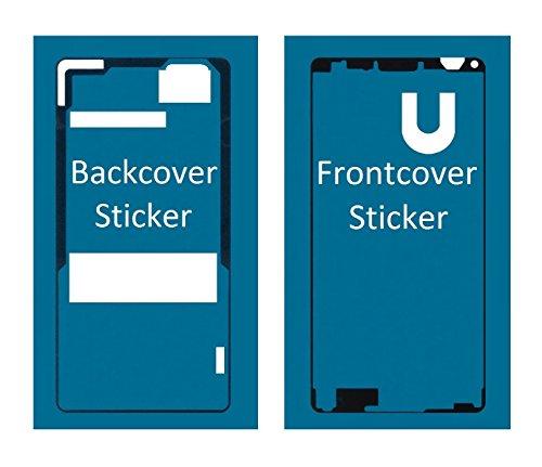 MMOBIEL Sticker Set Für Sony Xperia Z3 Compakt Mini Front + Rückseite Backcover doppelseitiger Kleber Glue zum befestigen von LCD Front und Akkudeckel inkl. Tuch und 2er Set Wet & Dry Reinigungs Pads