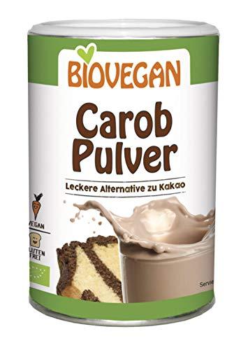 Polvo de algarroba sin gluten orgánico 200g Biovegan | Harina de algarroba orgánica para chocolate caliente o postres
