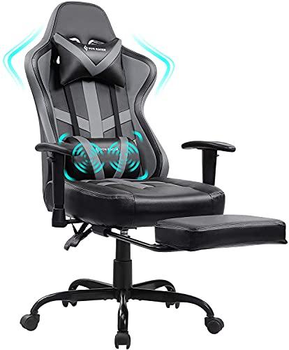 VON Racer Massage Gaming Stuhl mit Fußstütze - Racing Computer Schreibtisch Büro Drehbarer Arbeitsstuhl Ergonomischer Executive Ledersessel mit Kopfstütze Lordosenstütze Verstellbare Armlehnen (Grau)