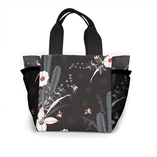 Cactus y flores - Bolsa de almuerzo portátil para mujer, bolsas aisladas, a prueba de fugas, caja térmica térmica para el trabajo escolar, picnic, color negro, talla única