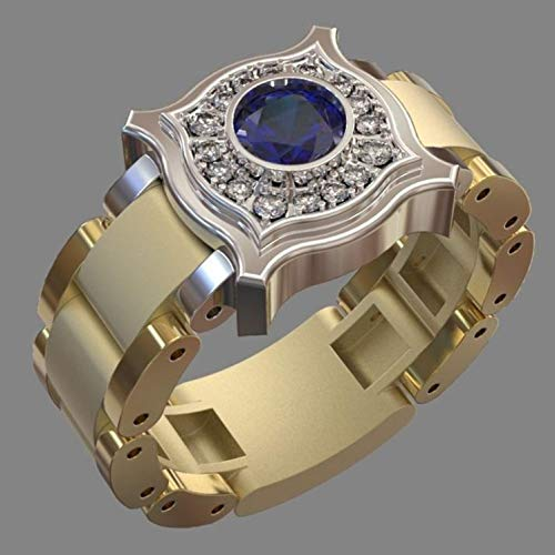 aixingwuzi Wunderbare Frauen Männer 18K Golduhr Form Zweifarbig 1.0Ct Natürlicher Saphir Edelstein Ringe Verlobung Ehering Diamantring Versprechen Ringe - Rd-8