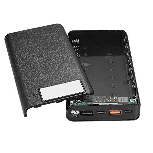 YIYIO 8X18650 PortáTil QC3.0 18W BateríA CáScara de Banco de EnergíA Funda Caja Pantalla LCD Type C USB QC3.0 Puerto Cargador RáPido Caja CáScara Negro