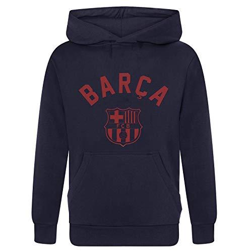 FC Barcelona - Sudadera oficial con capucha - Para niño - Con el escudo del club - Forro polar - 8-9 años